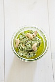 Basil pesto with ricotta and cashews