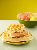 Waffles with apple jelly