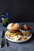 Hamburger with Waldorf salad and crisps