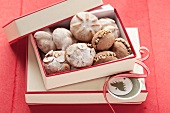 Assorted Christmas cookies in a box for gifting
