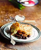 Potato and sweet potato puffer with olives