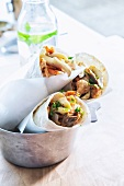 Shawarma with salmon and mushrooms (Arabia)