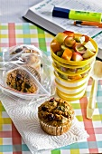 Muffins and yogurt with fruit for the office