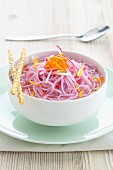Pink somen noodles in vegetable stock