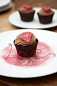 Chocolate cupcakes with hearts