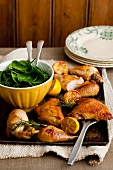 Lemon chicken with rosemary and honey, a side dish of spinach and kale