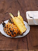 Grilled pineapple and ice cream