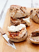 French style chicken burger (with creme fraiche and morels in nut buns)