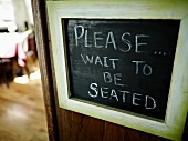Sign in a bistro