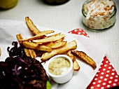 Hamburger with fries and coleslaw