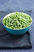Frozen peas in a bowl