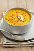 Cream of carrot soup with lentils