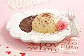 Mini mascarpone cheesecakes with cherry and chocolate sauce