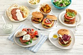 Assorted burgers