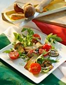 Insalata di rucola e porcini (rocket salad with porcini mushrooms)