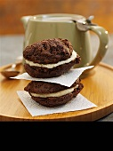 Chocolate whoopie pies with vanilla cream