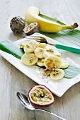 Banana with passion fruit sauce