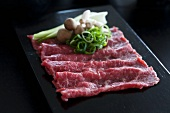 Wagyu beef with pak choi, shimeji mushrooms and chopped spring onion (Negi)