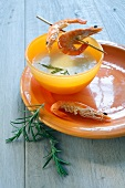 Cream of potato soup with prawns