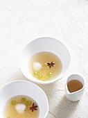 Sago soup with lychees and star anise