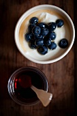 Greek yogurt with fresh blueberries and pure Canadian maple syrup