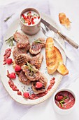 Grilled lamb chops with berry sauce