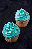Cupcakes topped with mint icing