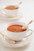 Ajo colorao (potato and tomato soup, Spain) with a fish skewer