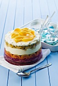 Trifle with mango and passion fruit