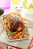 Roasted turkey joint with mushrooms and carrots