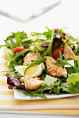 Rocket salad with chicken and egg