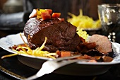 Roasted wild boar with straw potatoes