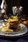 Beef steak with kohlrabi and caramelised apple