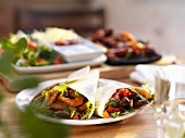 Fajitas with beef and prawns