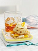 A peach and coconut whoopie pie