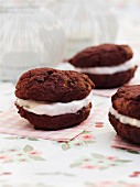 Red Velvet whoopie pies with marshmallow creme
