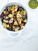 Pot-roasted root vegetables with almonds and breadcrumbs