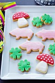 Toadstool, pig and clover leaf-shaped biscuits