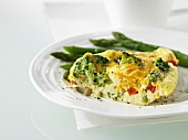 Frittata with broccoli and asparagus
