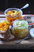 Fennel chutney and pumpkin orange chutney
