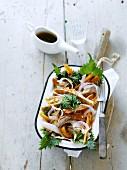 Radish salad with fennel tempura, shiso and soy sauce