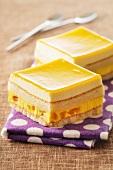 Squares of mango cake