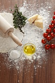 Ingredients for a margherita pizza