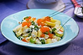 Swedish potato salad with trout caviar