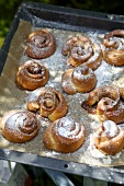 Kanelbullar (Swedish cinnamon whirls) with icing sugar