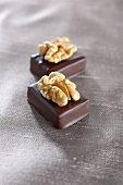 Filled chocolates with walnuts