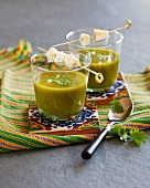 Coriander soup with curd cheese skewers