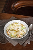 Chicken and vegetable risotto with Parmesan cheese