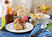 Apple dumpling stuffed with dried fruits and served with a home-made caramel sauce
