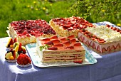 Summer cake buffet, outdoors